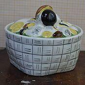 Винтаж handmade. Livemaster - original item Sugar bowl Onion with mushrooms Konakovo. Handmade.