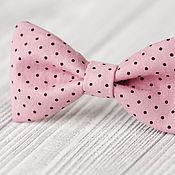 Украшения ручной работы. Ярмарка Мастеров - ручная работа Заколка для волос Розовый Бант Серый Горошек Милая. Handmade.