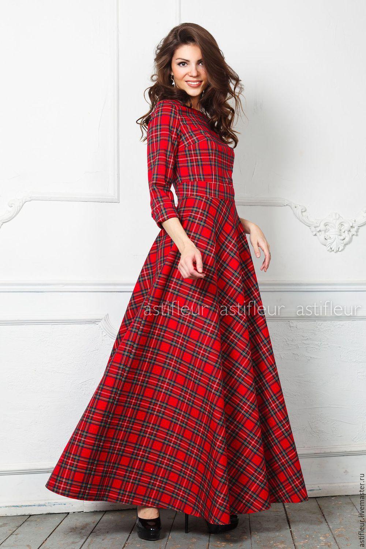 2e386a80b7693e1 Теплое платье в пол длинное из красной клетке – купить в интернет ...