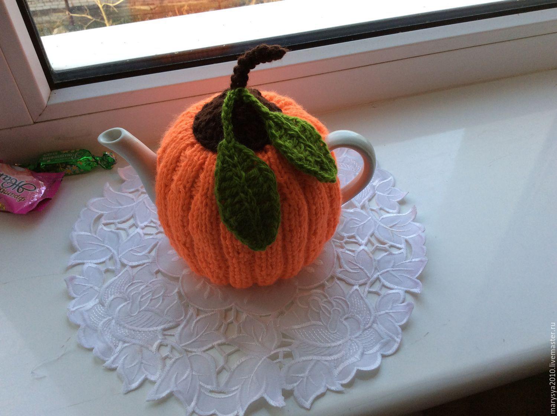 Вязание грелка на чайник тыква