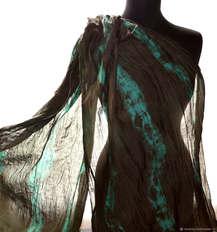 Brown emerald scarf made of cotton with silk Shibori batik female, Scarves, Vyazma,  Фото №1