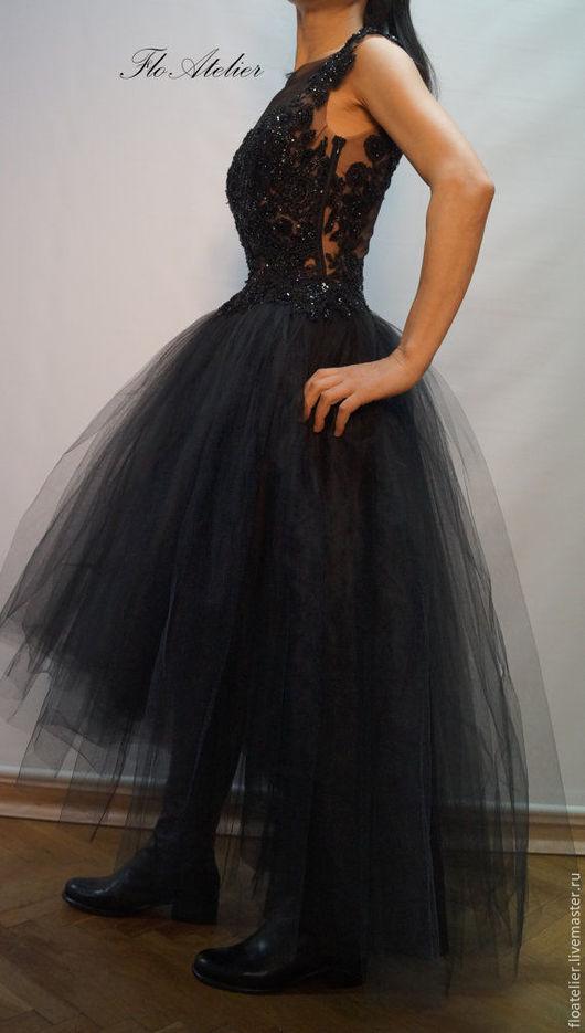 Платья ручной работы. Ярмарка Мастеров - ручная работа. Купить Черное вечерное платье из тюля/ Романтичное платье / F1112. Handmade.
