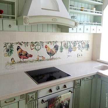 Diseño y publicidad manualidades. Livemaster - hecho a mano Painted tiles for kitchen Apron chickens and grass. Handmade.