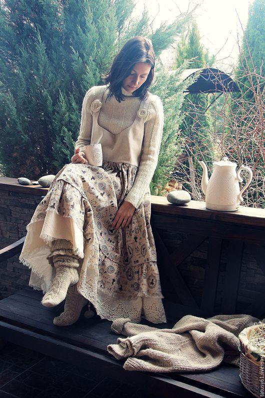 Платья ручной работы. Ярмарка Мастеров - ручная работа. Купить Сарафан длинный  Алиса ( бохо, для беременных). Handmade. Бежевый