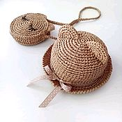 Аксессуары handmade. Livemaster - original item Set of hat and handbag are made of genuine raffia.. Handmade.