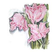 Аксессуары handmade. Livemaster - original item Batik Scarf Tulips. Handmade.