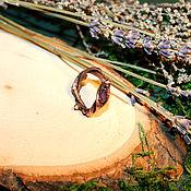 Украшения ручной работы. Ярмарка Мастеров - ручная работа Медное кольцо из веточек березы с аметистом. Handmade.