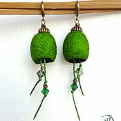 """Украшения ручной работы. Ярмарка Мастеров - ручная работа """"Весенняя зелень"""" серьги с шелковыми коконами. Handmade."""