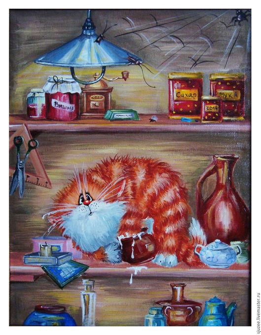 Животные ручной работы. Ярмарка Мастеров - ручная работа. Купить Животные масло Рыжий кот в сметане. Handmade. Рыжий