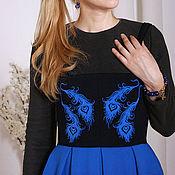 Одежда handmade. Livemaster - original item Warm MIDI dress with straps, black and blue dress, warm skirt. Handmade.