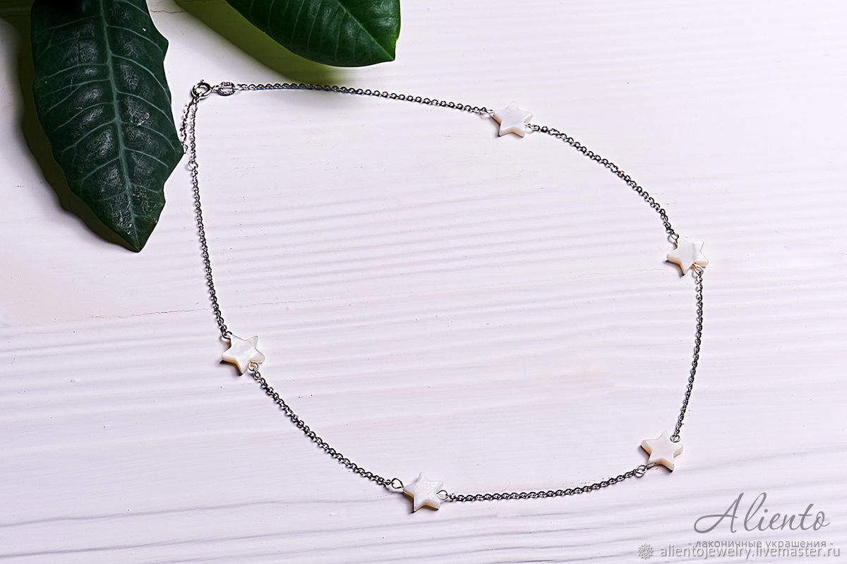 Necklace of silver 925 with mother of pearl stars, Necklace, Moscow,  Фото №1