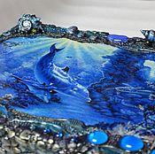 """Для дома и интерьера ручной работы. Ярмарка Мастеров - ручная работа Морская шкатулка-купюрница. """"В глубинах синих океана..."""". Handmade."""