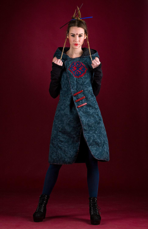 Sleeveless Blue Textured Linen Coat Hooded Midi Coat, Vests, Rostov-on-Don,  Фото №1