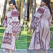 Одежда ручной работы. Ярмарка Мастеров - ручная работа Льняное платье в этно стиле Вышиванка. Handmade.