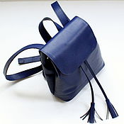 Сумки и аксессуары ручной работы. Ярмарка Мастеров - ручная работа Маленький синий кожаный рюкзак. Handmade.