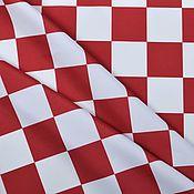 Материалы для творчества handmade. Livemaster - original item Large checkered fabric, red and white checkered. Handmade.