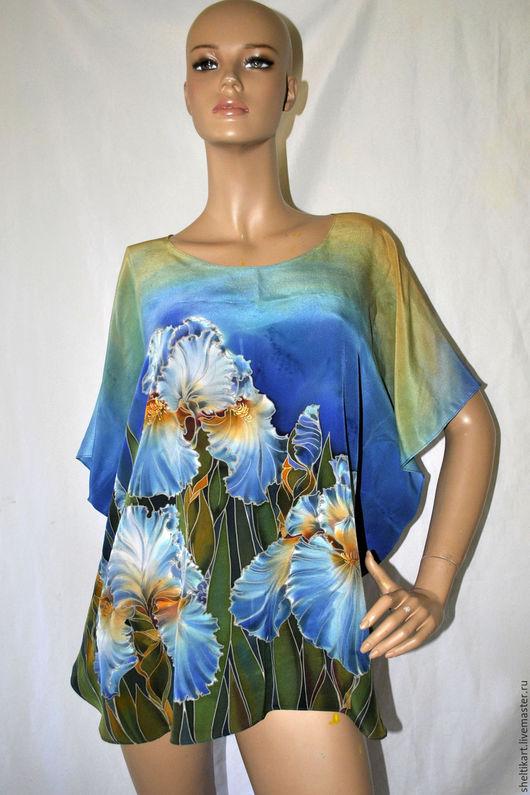 Блузки ручной работы. Ярмарка Мастеров - ручная работа. Купить Блуза Ирисы. Handmade. Блуза батик, свободная блуза