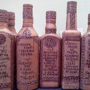 Русский стиль ручной работы. Ярмарка Мастеров - ручная работа Подарочная бутылка. Handmade.