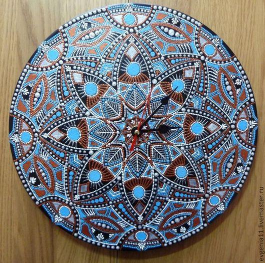 """Часы для дома ручной работы. Ярмарка Мастеров - ручная работа. Купить Часы-мандала """"Северное сияние"""". Handmade. Голубой, подарок"""