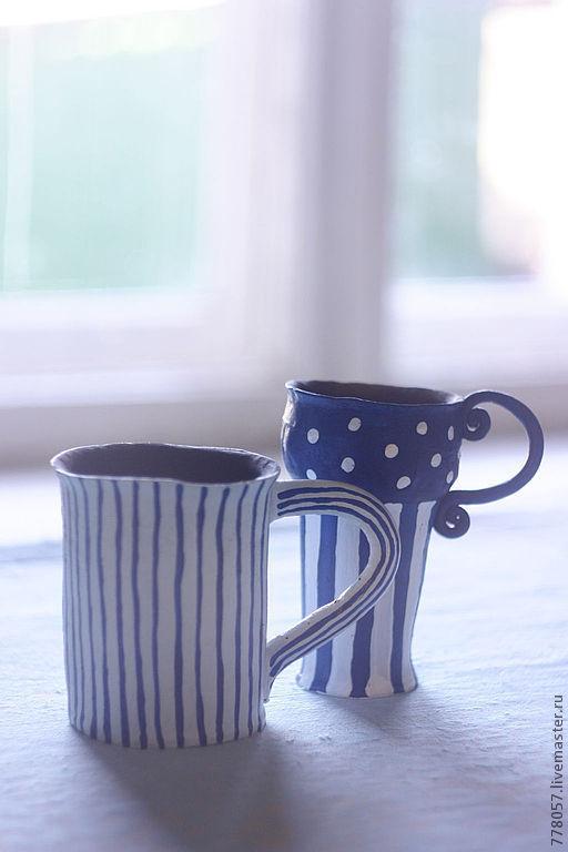 """Кружки и чашки ручной работы. Ярмарка Мастеров - ручная работа. Купить кружки """"Утро в Провансе"""". Handmade. Тёмно-синий, чай"""