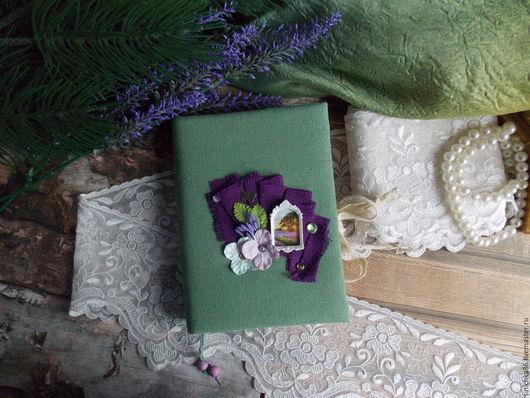 """Блокноты ручной работы. Ярмарка Мастеров - ручная работа. Купить Блокнот""""Лавандовый рассвет"""". Handmade. Зеленый, блокнот для записей, скрап, лён"""
