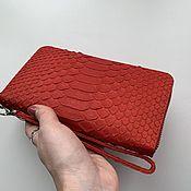 Сумки и аксессуары handmade. Livemaster - original item Red wallet from Python. Handmade.