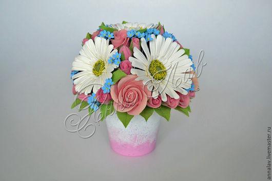 Интерьерные композиции ручной работы. Ярмарка Мастеров - ручная работа. Купить Букет с цветам из полимерной глины незабудки, герберы и розы. Handmade.