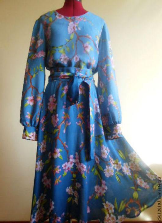 Платья ручной работы. Ярмарка Мастеров - ручная работа. Купить Платье с поясом.. Handmade. Синий, платье для девушки, Платье нарядное