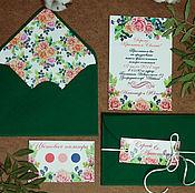 """Свадебный салон ручной работы. Ярмарка Мастеров - ручная работа Приглашения """"Летние"""" в зеленом конверте. Handmade."""
