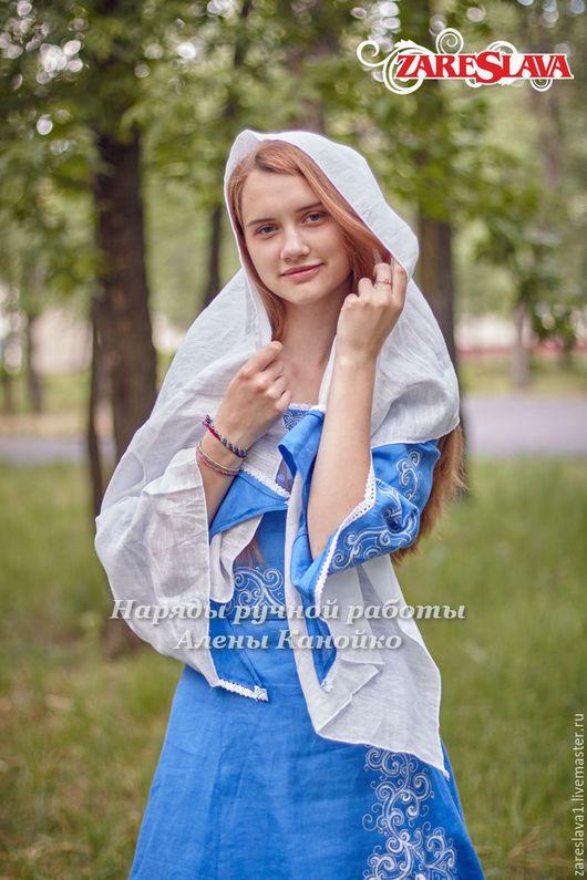 Одежда и аксессуары ручной работы. Ярмарка Мастеров - ручная работа. Купить Венчальный наряд в синих тонах. Handmade. Синий, зареслава