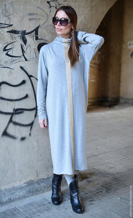 Платье-туника. Серое платье. Длинная туника. Модная одежда.