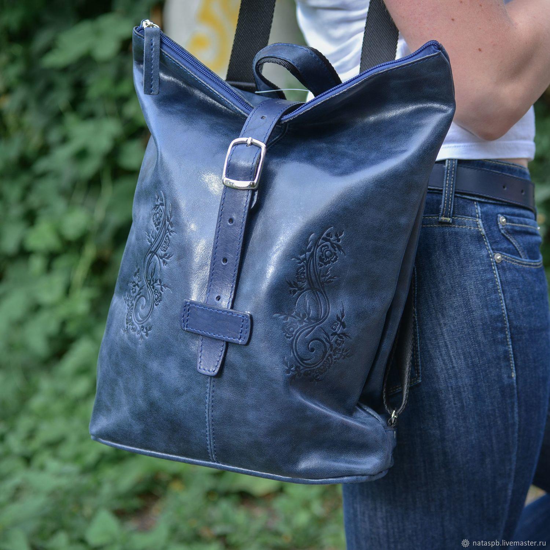 Сумка-рюкзак кожаная женская синяя Карла Мод СР34т-661, Рюкзаки, Санкт-Петербург, Фото №1