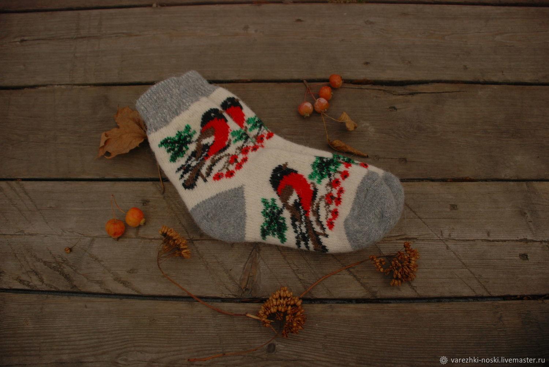 Носки позитивные  с рисунком снегири и рябина, Носки, Москва, Фото №1