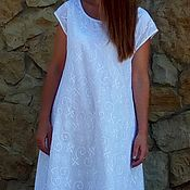 Одежда handmade. Livemaster - original item dress of white Batiste embroidered in the lining. Handmade.