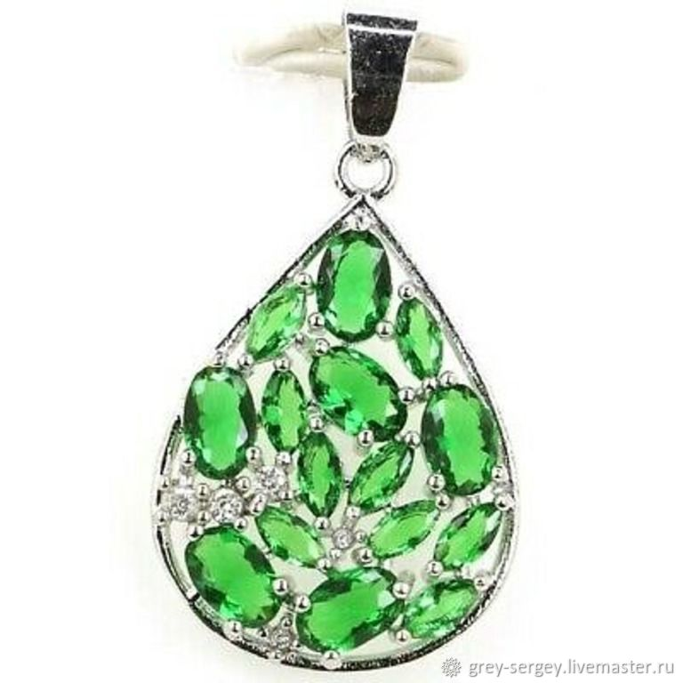 Silver drop pendant with emeralds, Beads1, ,  Фото №1