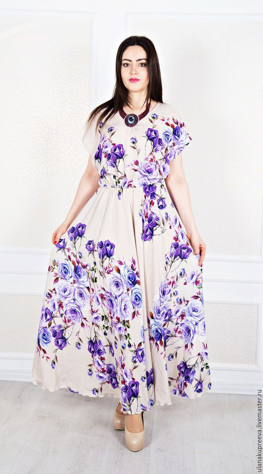 Летнее платье в пол из штапеля