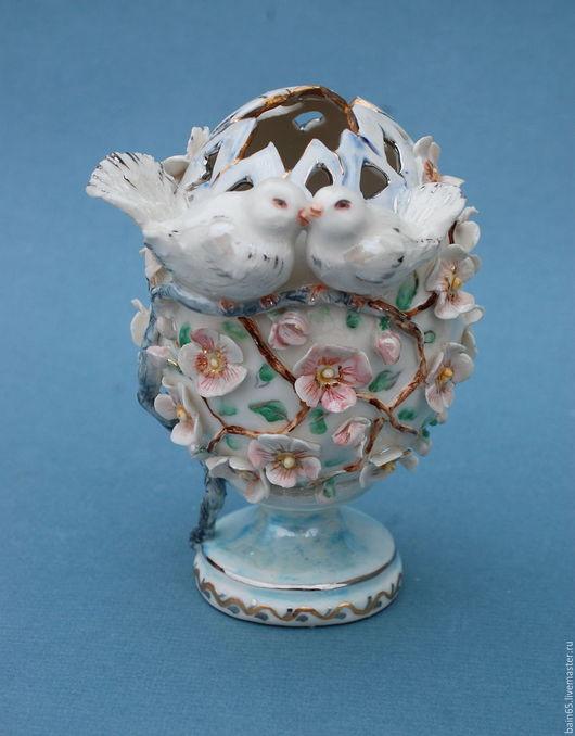 """Вазы ручной работы. Ярмарка Мастеров - ручная работа. Купить Вазочка в форме яйца """"Голуби"""". Handmade. Комбинированный, православный подарок"""