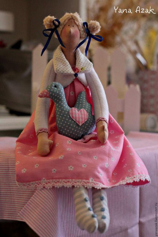 Куклы Тильды ручной работы. Ярмарка Мастеров - ручная работа. Купить Агнесса с гусыней.. Handmade. Розовый, подарок девушке