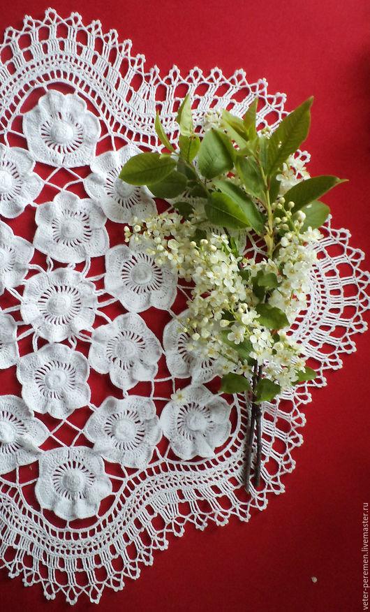 """Текстиль, ковры ручной работы. Ярмарка Мастеров - ручная работа. Купить Салфетка крючком """"Анемоны"""". Handmade. Белый"""