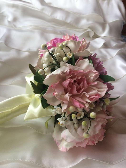 Свадебные цветы ручной работы. Ярмарка Мастеров - ручная работа. Купить Свадебный букет Пионы и ландыши. Handmade. Свадебный букет