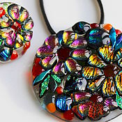 Украшения ручной работы. Ярмарка Мастеров - ручная работа комплект бижутерии из стекла, фьюзинг  Цветное счастье. Handmade.