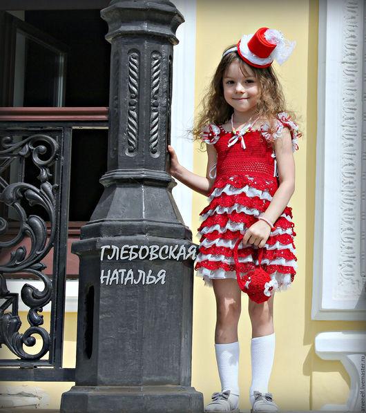 """Одежда для девочек, ручной работы. Ярмарка Мастеров - ручная работа. Купить Платье """"Маленькая мисс"""".. Handmade. Ярко-красный, бусины"""