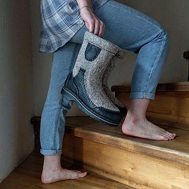 Обувь ручной работы. Ярмарка Мастеров - ручная работа Полусапожки валяные женские Daily. Handmade.