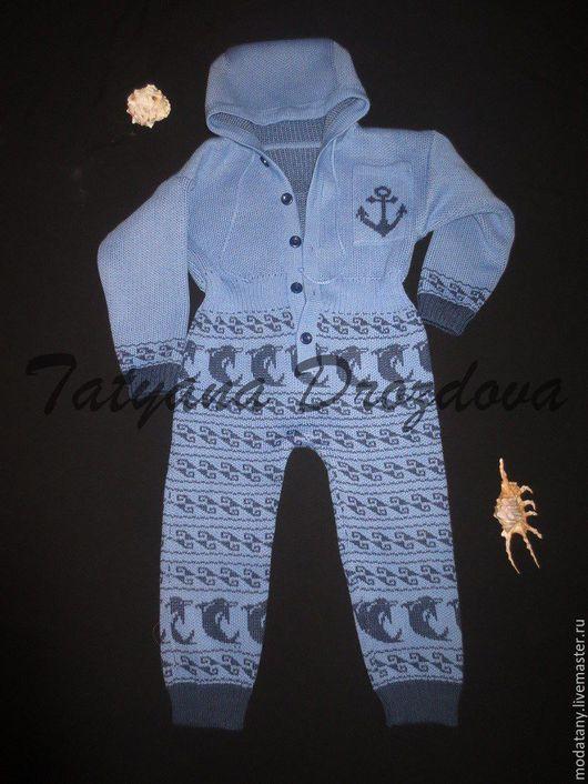 """Одежда для мальчиков, ручной работы. Ярмарка Мастеров - ручная работа. Купить Комбинезон """"Отдать швартовы"""". Handmade. Голубой, морская тематика"""
