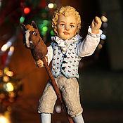 Сувениры и подарки handmade. Livemaster - original item A boy with a horse, a New Year`s toy made of cotton wool on the Christmas tree.. Handmade.