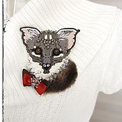 Украшения handmade. Livemaster - original item Soutache brooch Kitten. Brooch with fur for cat lovers.. Handmade.