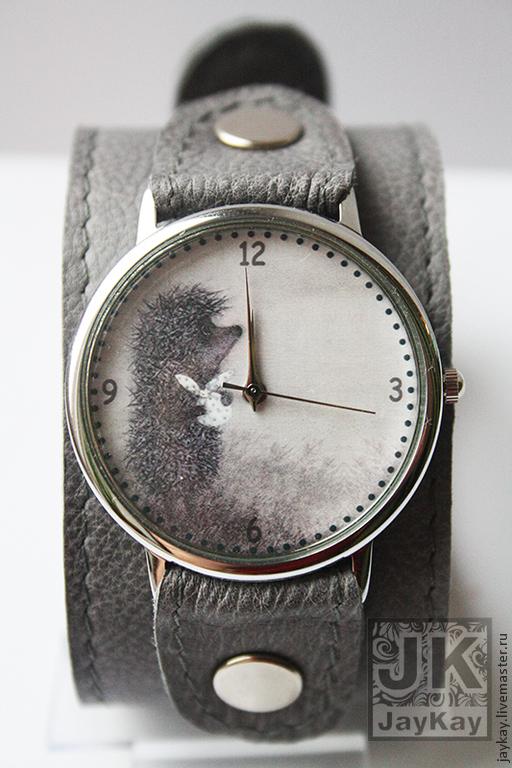"""Часы ручной работы. Ярмарка Мастеров - ручная работа. Купить Часы наручные JK """"Ежик в сером"""". Handmade. Серый"""
