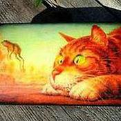 """Для дома и интерьера ручной работы. Ярмарка Мастеров - ручная работа Купюрница """"Кот на охоте"""" (декупаж). Handmade."""
