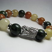 Украшения handmade. Livemaster - original item Bracelet nephrite and calcite