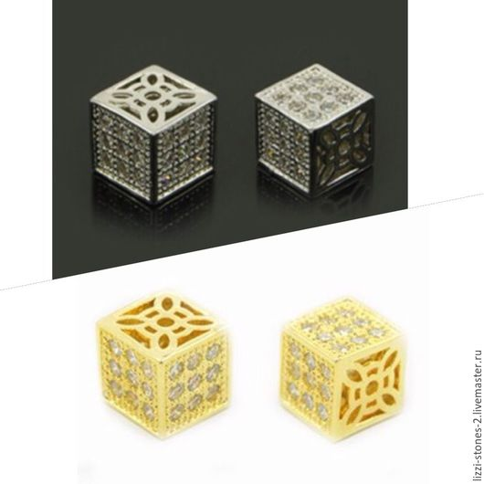 Бусина Кубик серебро и золото (Milano) Евгения (Lizzi-stones-2)